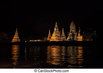 Night view of Wat Chaiwatthanaram temple in Ayutthaya,...