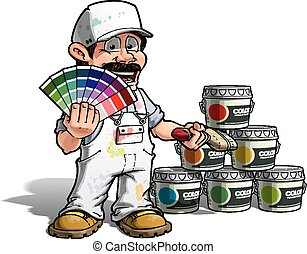 Handyman - Colour Picking Painter White Uniform - Cartoon...