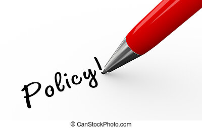3d pen writing policy - 3d render of pen writing policy on...