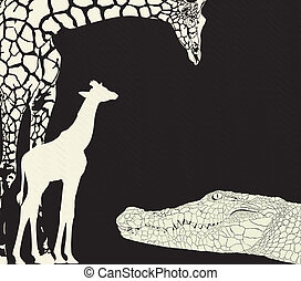 Inverse crocodile and giraffes - vector illustration of...