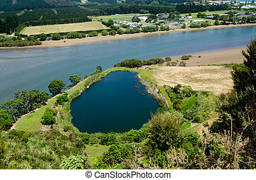 Taipa river - Northland New Zealand NZ - Aerial landscape...
