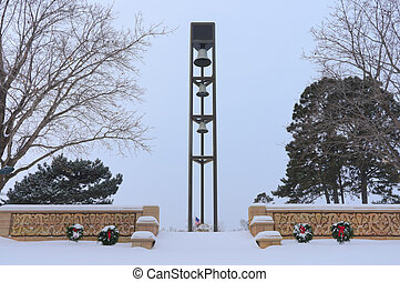 Cemetery Bell Tower in Courtyard - Steel bell tower and...