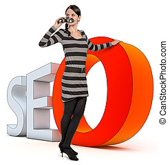 SEO concept - woman leans on a SEO icon
