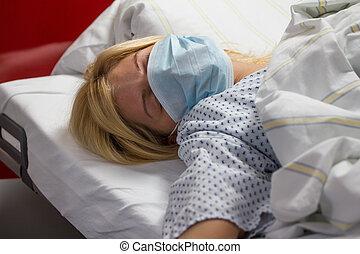 female patient in hospital quarantine