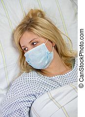 female patient in hospital quarantine