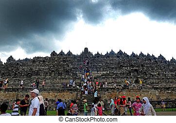 borobudur - Tourists visited Borobudur temple in Magelang,...