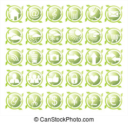 Set of thirty round green icons