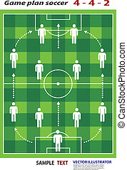 soccer playing field with strategy elements. Soccer tactic...