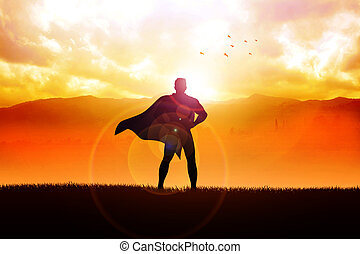 Superhero - Silhouette illustration of a superhero standing...