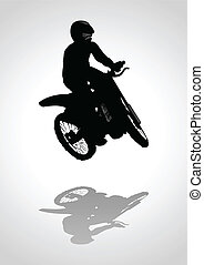 Motocross - Silhouette illustration of a man riding...