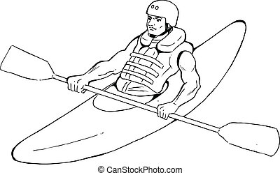 Kayaking - Sketch illustration of a man kayaking