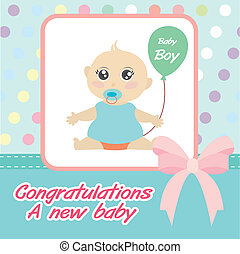 vector card new born baby boy