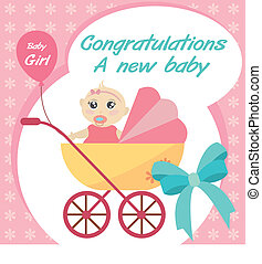 vector card new born baby girl