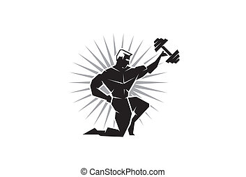 Front view of Body Builder - Illustration of a body builder...