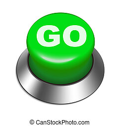 3d illustration of go button isolated white background