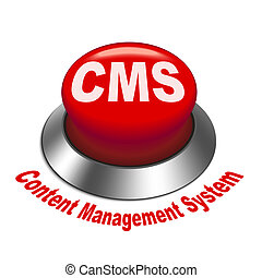 3d illustration of cms content management system button...