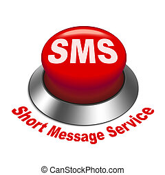 3d illustration of sms ( short message service ) button...