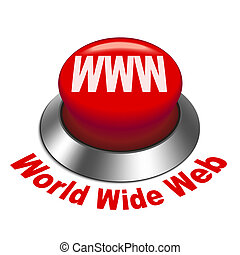3d illustration of WWW World Wide Web button isolated white...