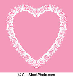 white lace - like heart shape frame - valentine or wedding...
