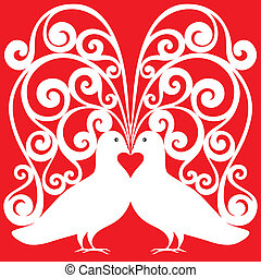 white kissing doves pair pattern - valentine or wedding...