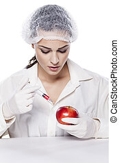 GMO experiment - Beautiful chemist woman injected some...
