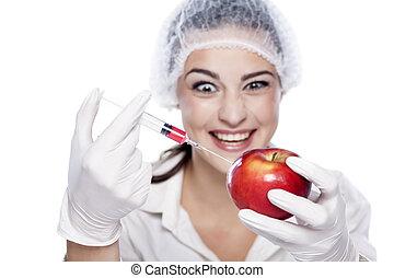 malicious GMO chemist - smiling malicious chemist woman...