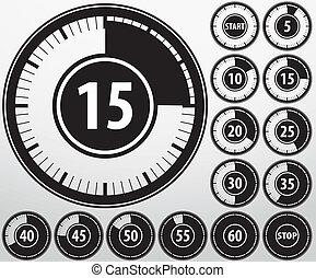 Analog timer icons set, vector illu