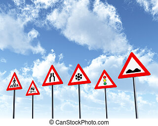 Traffic Signs - Computer generated 3D illustration with...
