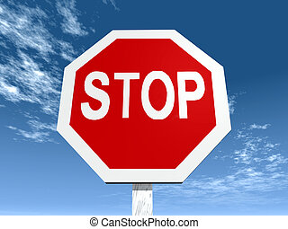 Stop Sign - Computer generated 3D illustration with a Stop...