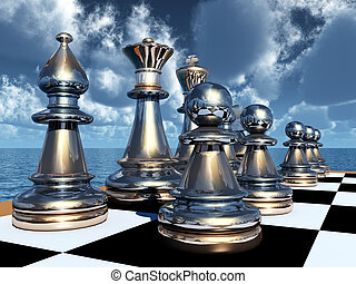 Chess Game - Computer generated 3D illustration with...