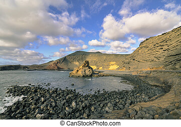 Lanzarote - Green lake landscape of the island of Lanzarote...