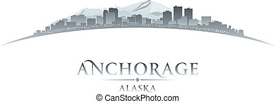 Anchorage Alaska city skyline silhouette white background -...