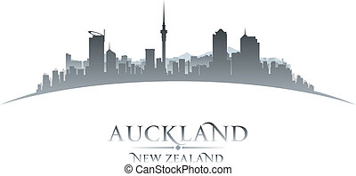 Auckland New Zealand city silhouette white background -...