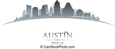 Austin Texas city skyline silhouette white background -...