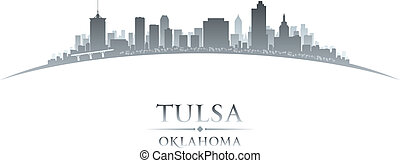 Tulsa Oklahoma city skyline silhouette white background -...