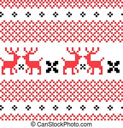 Norwegian ornamental Christmas pattern red and white -...