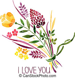 Amour, carte, aquarelle, floral, Bouquet, vecteur,...