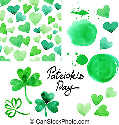 St Patrick`s day watercolor illustration set Collection of...
