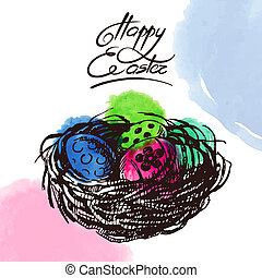 Vintage Easter background, hand drawn sketch illustration...