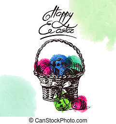 Vintage Easter background, hand drawn sketch illustration...