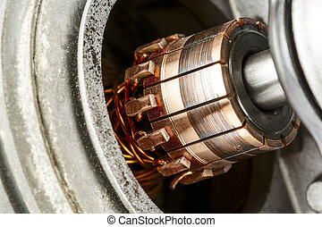 Commutator shown up close - Commutator, a part of the...