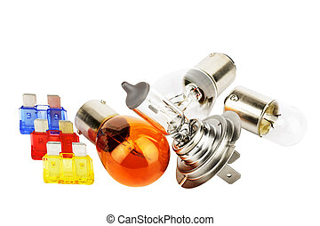 Set of spare car bulbs including H7 and orange bulb and...