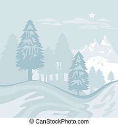 Winter Alpine Landscape - Winter alpine landscape with...