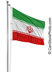 3D Iranian flag with fabric surface texture White background...