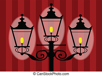 Wall Lamp - A typical old London gaslight with three flames.