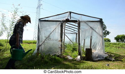 girl water greenhouse