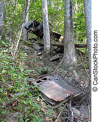 Old Accident Site - A pickup truck rests against a tree, and...