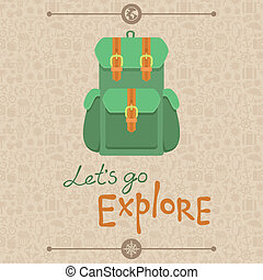 Lets go explore - Vector card in flat retro style - Lets go...