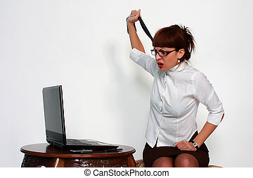 Businesswoman under stress - portrait of businesswoman under...