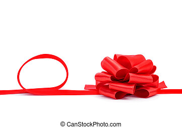 ribbon bow - a red ribbon with a bow on a white background